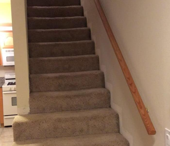 Staircase with beige carpet and wood handrail
