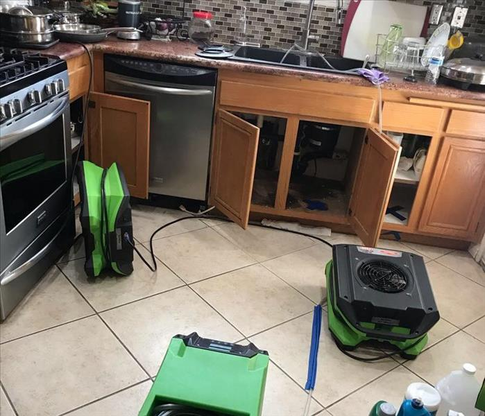 Drying equipment set up in a kitchen with cabinet doors open