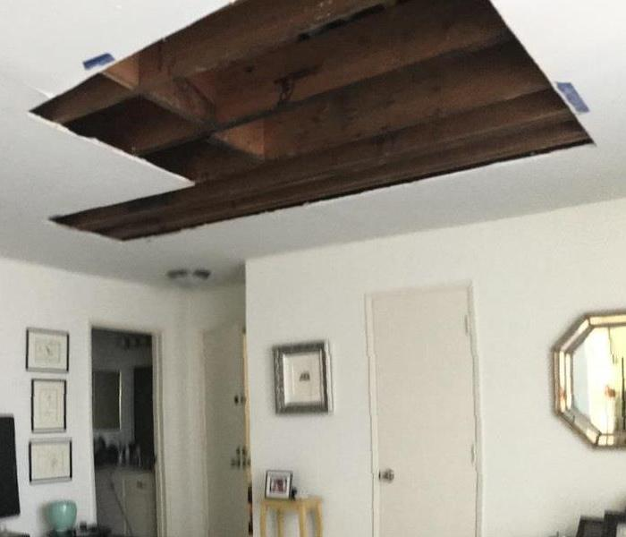 Wet portion of ceiling removed